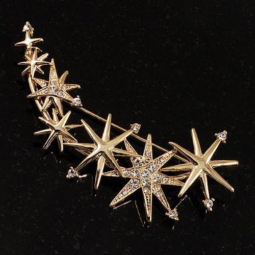 Broche de oro tono brillante con estrás Moda Grande Imitación Perla Copo de Nieve Pin FG