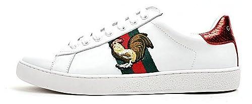 Gucci Ace Embroidered Low Top Animal Cock Blanco Cuero Zapatillas Hombre Mujer: Amazon.es: Zapatos y complementos