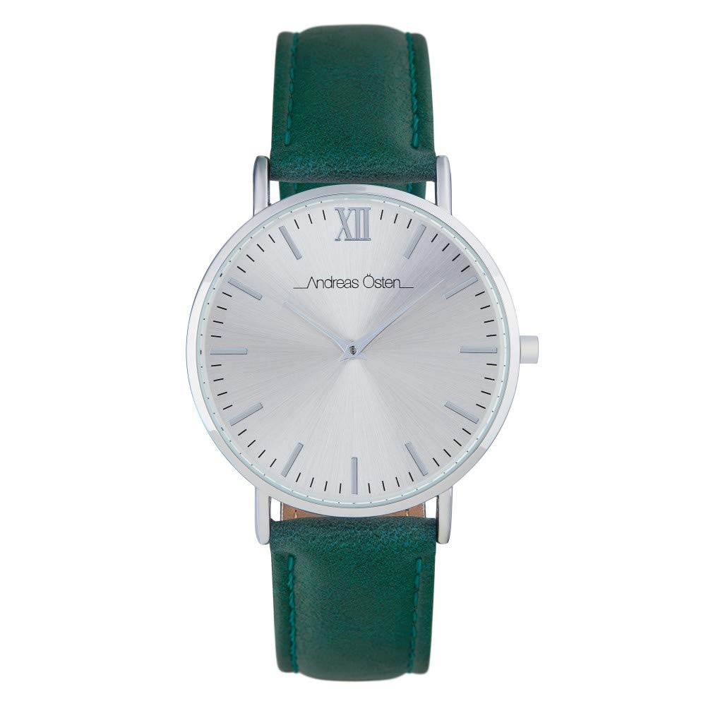 Andreas Osten Unisex Quartz Watch 36 mm Silver Dial and Green PU Bracelet AOW18015