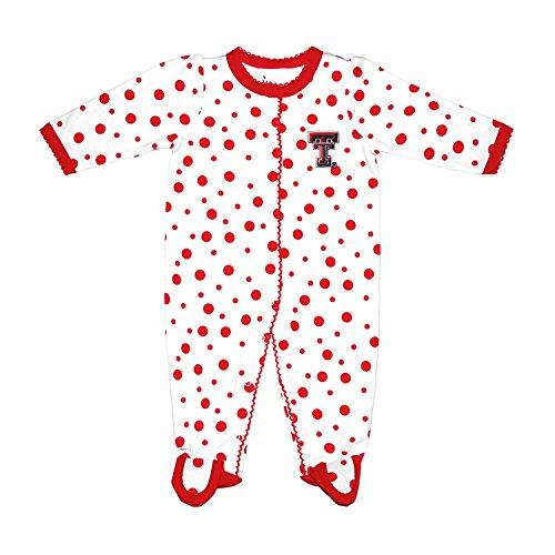 (Two Feet Ahead NCAA Texas Tech Red Raiders Infant Polka Dot Footed Creeper Dress, 6 Months,)
