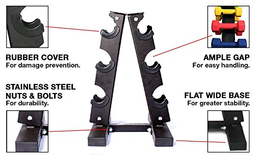 Fitness Alley Steel Dumbbell Rack - 3 Tier Weight Holder & 3 Tier Weight Rack Dumbbell Stand - Dumbbell Holder - Dumbbell Rack Stand - Weight Racks for Dumbbells of All Sizes by Fitness Alley (Image #1)