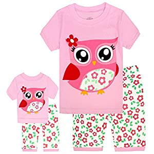 Girls Matching Doll&Toddler Owl 4 Piece Short Cotton Pajamas Kids Clothes Sleepwear