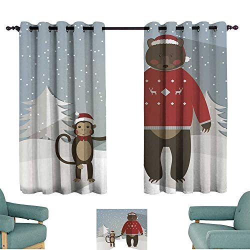 Warm Family Bedroom Windproof Curtain Funny Monkey and Forest Bear Chinese Zodiac Darkening and Thermal Insulating