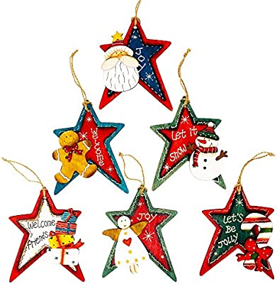 Harbor 55 Christmas Ornament Decorations Set Of 6 Stars Wood Painted Gift Tags Snowman Santa Angel Candy Cane Gingerbread