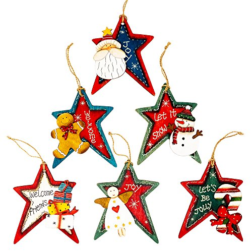 Christmas Ornament Decorations Set of 6, Stars, Wood, Painted, Jute Hanger, Gift Tags, Snowman, Santa, Angel, Candy Cane, Gingerbread ()