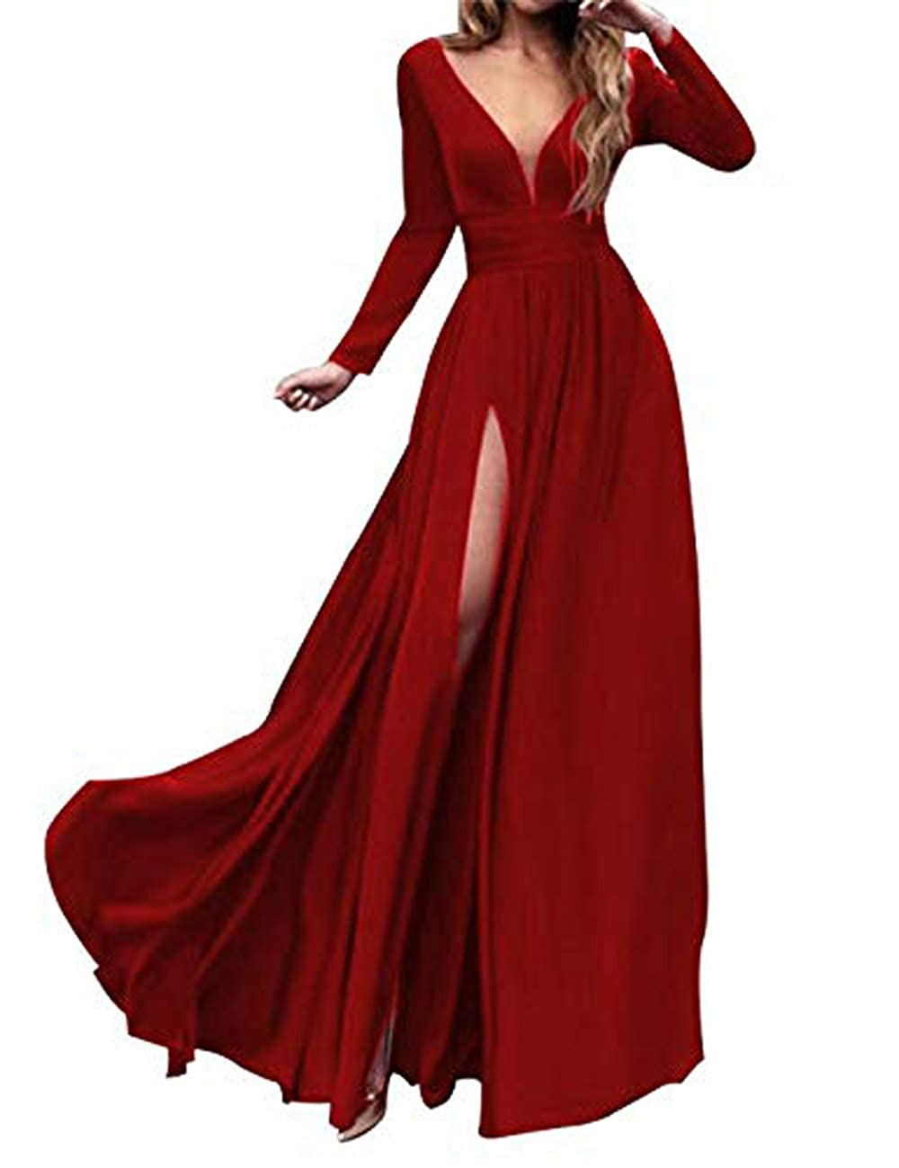 3style Red MariRobe Women's High Split Evening Dress Deep V Neck Prom Gown Long Sleeve Party Gown