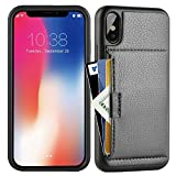 iphone X Wallet Case , iphone X Case with Card Holder , ZVE Apple iphone X Wallet Case with Credit Card Holder Slim Leather Shockproof Protective hybrid Case For Apple iPhone X 5.8 inch 2017 (Black)