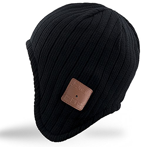 Mydeal Adult Unisex Trendy Soft Warm Bluetooth Beanie Hat Ear Covers with Wireless Headphone Headset Speaker Mic Hands-free,Christmas Gift for Mens Womens Winter Outdoor Sport Skiing Snowboard - (Ear Cover Knit Hat)