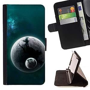 BullDog Case - FOR/Samsung Galaxy S6 / - / Space Planet Galaxy Stars 25 /- Monedero de cuero de la PU Llevar cubierta de la caja con el ID Credit Card Slots Flip funda de cuer