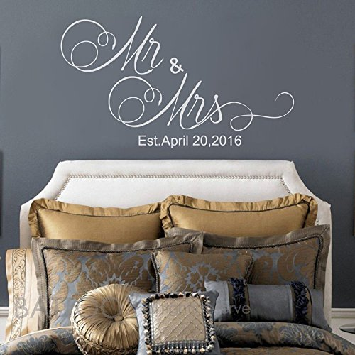 "BATTOO Mr And Mrs Wall Decals - Mr and Mrs Stickers - Newlywed Wall Decals - est date Wall Decal - Monogrammed Wall Decal - Wedding Gift(white, 22"" wx12.5 h)"
