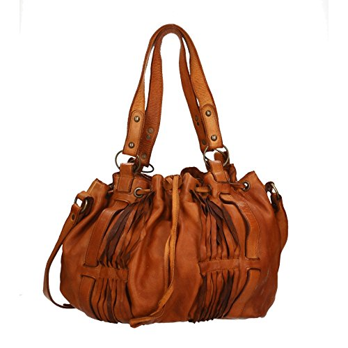 Chicca Borse Luxury Edition Shoulder Bag Vintage Borsa a Spalla da Donna in Vera Pelle 100% Genuine Leather 40x27x14 Cm