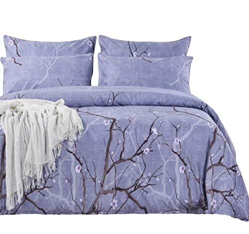 SexyTown 100% Bamboo Cotton Duvet Cover Set with Zipper Closure Floral Tree Branch Print Duvet Bedding Set Comfortable like Linen Better Breathable King Size