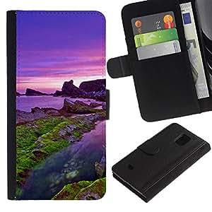 LECELL--Cuero de la tarjeta la carpeta del tirón Smartphone Slots Protección Holder For Samsung Galaxy S5 Mini, SM-G800 -- Mar púrpura --