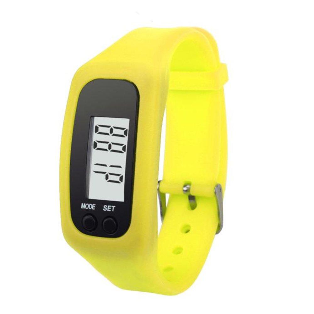 Digital LCD Pedometer Run Step Walking Distance Calorie Counter Watch Bracelet Water-Resistant Digital Watch for Men Women Bracelet Watch Waterproof Swimming Frozen Sports Watch Boys (Yellow)