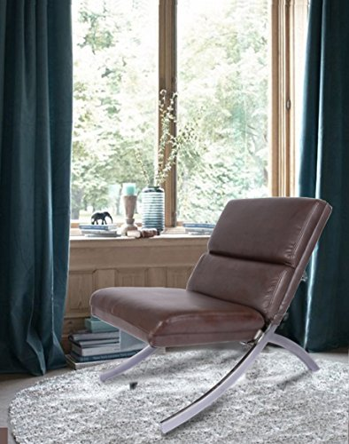Leather Accent Chair - Dark Brown Bonded Leather Chrome Metal Frame Contemporary Accent Lounge Chair