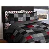 Latitude Teen America Bordered Geometric Red, Black Blocks Reversible Solid Gray Bedding Full Comfort Set for Boys (5 Piece in a Bag)