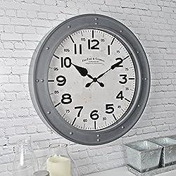 FirsTime & Co. Donovan Wall Clock, 18, Gray