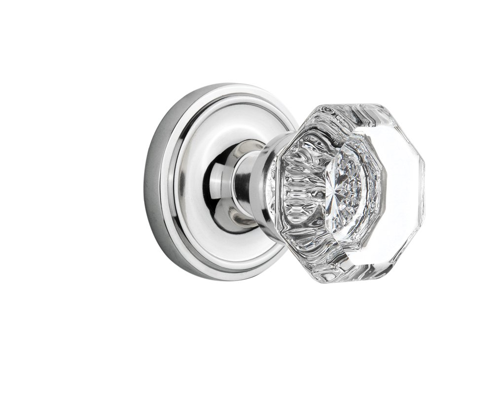 Nostalgic Warehouse Classic Rosette with Waldorf Crystal Door Knob, Passage - 2.375'', Bright Chrome