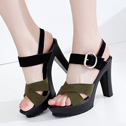 Sandalias Temperamento Altos Moda señoras Tacones Las YMFIE tacón de Elegantes Gamuza de Simple B Alto Verano wwqSC