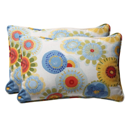 Pillow Perfect Decorative Multicolored Floral Large Rectangle Toss Pillow, 2-Pack