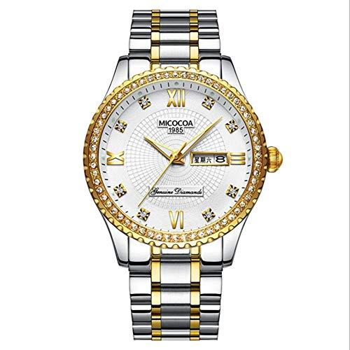 Golden Quartz Watch Men's Business Watch Fashion Business Watch Gold Casual Watch Diamond-Encrusted Watch (White)