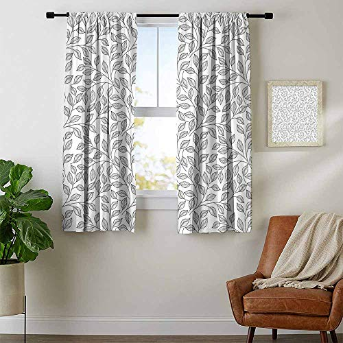- Mozenou Leaves, Country Curtains Valance, Hand Drawn Style Simple Minimalist Floral Pattern Rustic Country Life Inspiration, Curtains for Kitchen, W63 x L63 Inch Black White