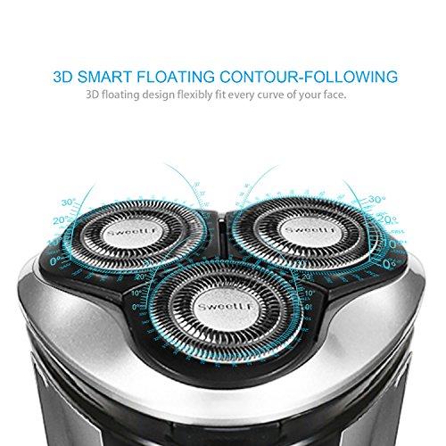 89cccfc6c870 on sale SweetLF Rasoir Electrique Homme Rechargeable Tondeuse Barbe IPX7  Etanche Technologie Wet Dry avec 3 Têtes