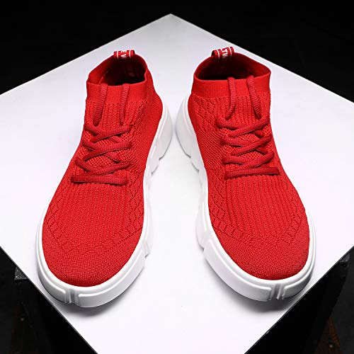 95145c2128b10 Wrezatro Mens Comfortable Breathable Sport Volleyball Shoes Light Jogging  Sneakers Athletic Gym Running Shoe for Men 1558Red41