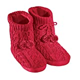 Women's Cable Knit Bootie Slippers Womens Red Medium, Red, Medium
