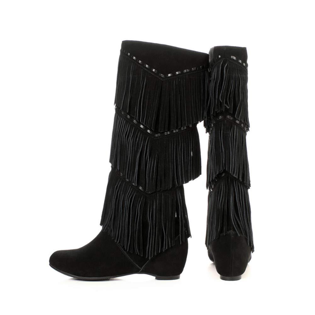 WHL.LL Frauen Quaste Innerhalb erhöhen Hohe Stiefel Rutschfest Rutschfest Rutschfest Verschleißfest Ärmel Stiefel Mode Kleiden Stiefel (Absatzhöhe  5cm) f0d754