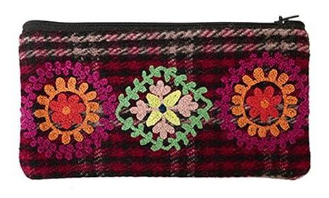 Estuche Bordado Tweed Rojo 64909908: Amazon.es: Oficina y papelería