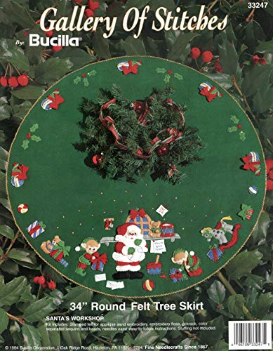Bucilla Santa's Workshop Felt Applique Tree Skirt Kit - Tree Skirt Felt Bucilla