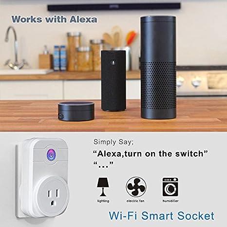 Mini Smart Plug Google Home Funciona con No Requiere Hub Alexa Enchufe Inteligente WiFi BLUYA 16A 3300W Funci/ón de Temporizador mediante App desde Cualquier lugar.