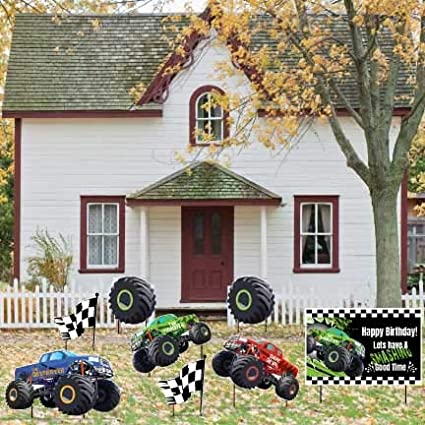 Amazon Com Victorystore Monster Truck Birthday Party Supplies Monster Truck Birthday Yard Decorations With 16 Stakes 12390 Health Personal Care