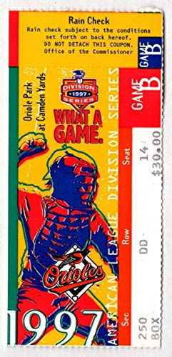 (1997 Orioles Indians ALCS Game 2 Ticket Stub Cal Ripken Jr. Home Run 129021 )