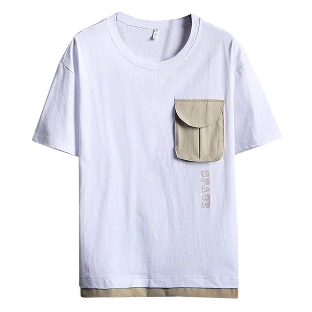 ZOMUSAR 2019 Blouse for Men, Men's Summer Casual Fashion Patchwork O-Neck Short Sleeve T-Shirt Tops Blouse White