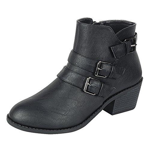 Heel Ankle Black Block Low Forever Women's Heel Buckle Strap Booties HCW6wFzq