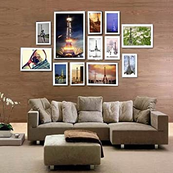 12 piece wooden wall hanging collage photo picture frame wall art wood art home decor multi