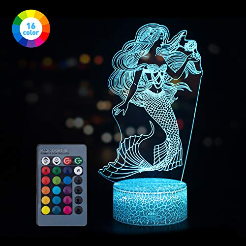 Koyya Mermaid Toys Night Light with Remote & Smart Touch 7 Colors + 16 Colors Changeable Dimmable Mermaid Gifts Year Old Girl Gifts (Best Girl Bedroom Ideas)