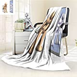 Fleece Blanket 300 GSM he is Thinking About his Identity Looking at Himself in The Mirror This Anti-Static Double-Sides Reversible Super Soft Warm Fuzzy Bed Blanket(90''x 70'')