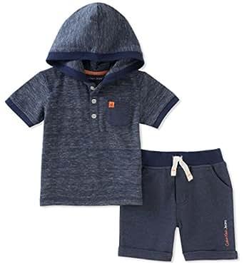 Calvin Klein Baby Boys 2 Pieces Hooded Shorts Set, Navy, 12M