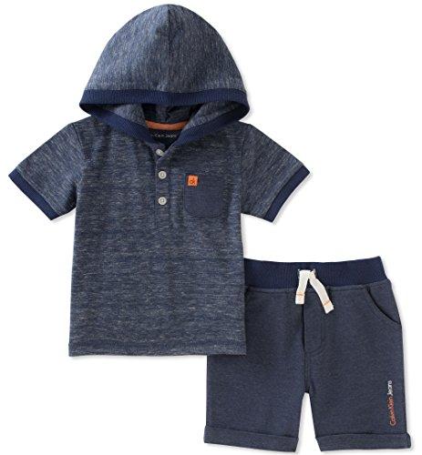 Calvin Klein Baby Boys 2 Pieces Hooded Shorts Set