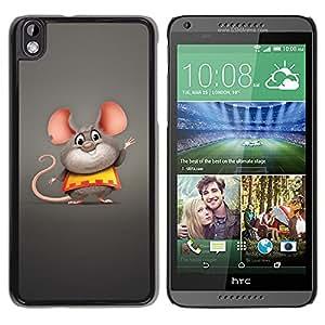 Qstar Arte & diseño plástico duro Fundas Cover Cubre Hard Case Cover para HTC DESIRE 816 ( Mouse Big Ears Rodent Cartoon Character Cute)