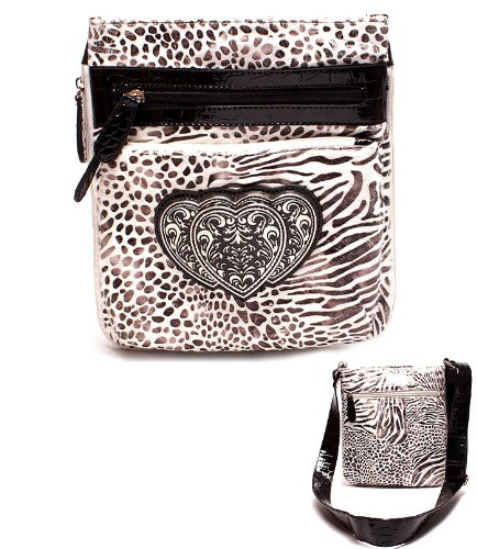 BLING Zebra Faux Patent Leather Cross Body Messenger bag by Jersey Bling (Jersey Leather Patent)