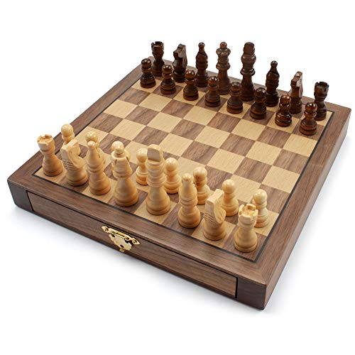 10-Inches Wooden Chess Game Set with Storage Drawers 10 Inch Chess Set