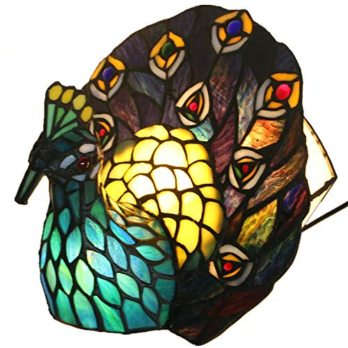 ASDYY Tiffany Style Hummingbirds Table Lamp, Decorative Table Lamps, Peacock Night Light for Coffee Table Living Room Bedroom,8.2