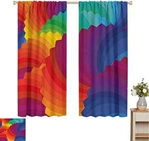 Toopeek Colorful Wear-Resistant Color Curtain Modern Gradient Dash Sea Shell Inspired Wavy Dimension Palette Stripes Artisan 2 Panel Sets W72 x L84 Inch Multicolor