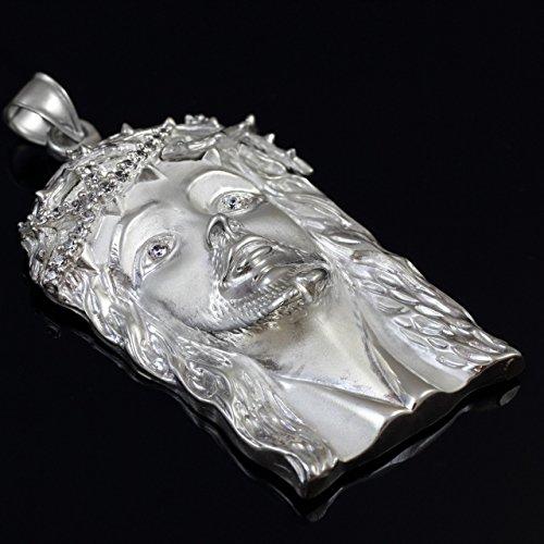 Petits Merveilles D'amour - 14 ct Or Blanc 585/1000 Jésus visage départ privé Oxyde de Zirconium Pendentif (XL) Pendentif