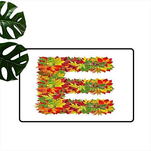 Anzhutwelve Letter E,Personalized Door mats Chestnut Maple Leaves Natural Oak Petals Vibrant Colors E Symbol Print Inside Door mats W 24
