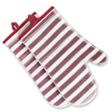 ANSMORE Oven Mitts, Heat Resistant to 572℉ and Waterproof, with Transparent Clear Silicone Shell and Nice Stripe Printing Cotton Lining-Set of 2(Red)